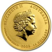 Australia 15 Dollars Year of the Ox (Colorized) 2009 ELIZABETH II AUSTRALIA 1/10 OZ 9999 GOLD 2009 15 DOLLARS IRB coin obverse