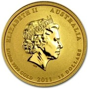 Australia 15 Dollars Year of the Rabbit (Colorized) 2011 ELIZABETH II AUSTRALIA 1/10 OZ 9999 GOLD 2011 15 DOLLARS IRB coin obverse