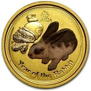 Australia 15 Dollars Year of the Rabbit (Colorized) 2011 THE YEAR OF THE RABBIT P coin reverse