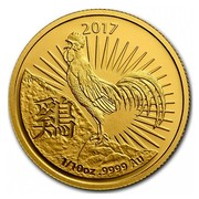 Australia 15 Dollars Year of the Rooster 2017 2017 1/10 OZ .9999 AU TD coin reverse