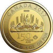 Canada 150 Dollars Voyageur Special Edition 2017 CANADA 2017 9999 150 YEARS ANS FINE GOLD 1 OZ OR PUR CH 17 coin reverse