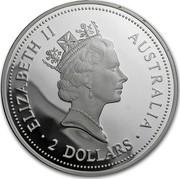 Australia 2 Dollars A Kookaburras at a nest (Johanna Privy) 1996 ELIZABETH II AUSTRALIA 2 DOLLARS coin obverse