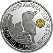 Australia 2 Dollars A Kookaburras at a nest (Johanna Privy) 1996 THE AUSTRALIAN KOOKABURRA 2 OZ. 999 SILVER 1996 coin reverse
