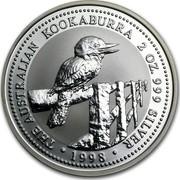 Australia 2 Dollars A Laughing Kookaburra 1998 THE AUSTRALIAN KOOKABURRA 2 OZ. 999 SILVER 1998 coin reverse