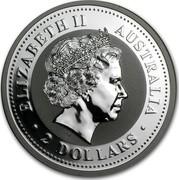 Australia 2 Dollars Kookaburra perched on a wire fence with a cobweb 2008 ELIZABETH II AUSTRALIA 2 DOLLARS IRB coin obverse