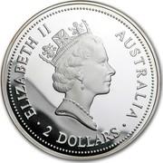 Australia 2 Dollars Kookaburras perched on a tree branch (Jubilee Privy) 1998 ELIZABETH II AUSTRALIA 2 DOLLARS coin obverse