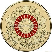 Australia 2 Dollars Lest We Forget - Red 2015 KM# 2188 LEST WE FORGET ·  TWO DOLLARS coin reverse