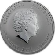 Australia 2 Dollars Lunar Goat 2015 ELIZABETH II AUSTRALIA 2 OZ 999 SILVER 2015 2 DOLLARS IRB coin obverse