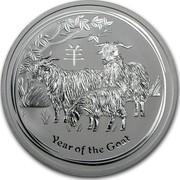 Australia 2 Dollars Lunar Goat 2015 YEAR OF THE GOAT P NM coin reverse