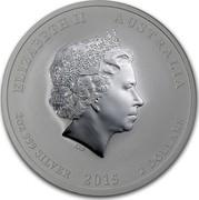 Australia 2 Dollars Lunar Goat Colored 2015 ELIZABETH II AUSTRALIA 2 OZ 999 SILVER 2015 2 DOLLARS IRB coin obverse