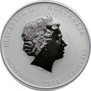 Australia 2 Dollars Lunar Horse 2014 KM# 2112 ELIZABETH II AUSTRALIA IRB 2 OZ 999 SILVER 2014 2 DOLLARS coin obverse