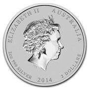 Australia 2 Dollars Lunar Horse (Colorized) 2014 ELIZABETH II AUSTRALIA 2 OZ 999 SILVER 2014 2 DOLLARS IRB coin obverse
