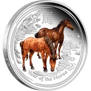 Australia 2 Dollars Lunar Horse (Colorized) 2014 YEAR OF THE HORSE P TV coin reverse