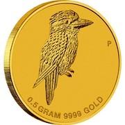 Australia 2 Dollars Mini Kookaburra 2014  0.5 GRAM 9999 GOLD P coin reverse