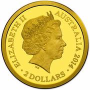 Australia 2 Dollars Platypus 2014  ELIZABETH II AUSTRALIA 2014 2 DOLLARS IRB coin obverse
