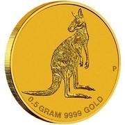Australia 2 Dollars Standing Mini Roo 2016 0.5 GRAM 9999 GOLD P coin reverse