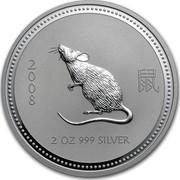 Australia 2 Dollars The Mouse 2007 2008 2 OZ 999 SILVER coin reverse