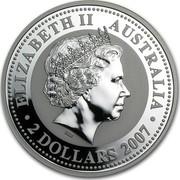 Australia 2 Dollars The Ox 2007 ELIZABETH II AUSTRALIA ∙2 DOLLARS 2007∙ IRB coin obverse