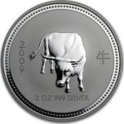 Australia 2 Dollars The Ox 2007 2009 2 OZ 999 SILVER coin reverse