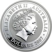 Australia 2 Dollars The Tiger 2007 ELIZABETH II AUSTRALIA 2 DOLLARS 2007 IRB coin obverse