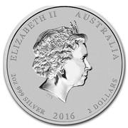 Australia 2 Dollars Year of the Monkey Colored 2016 ELIZABETH II AUSTRALIA 2 OZ 999 SILVER 2016 2 DOLLARS IRB coin obverse