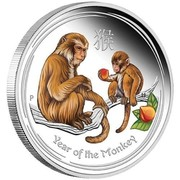 Australia 2 Dollars Year of the Monkey Colored 2016 YEAR OF THE MONKEY P IJ coin reverse