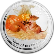 Australia 2 Dollars Year of the Mouse (Colorized) 2008 ELIZABETH II AUSTRALIA 2 OZ 999 SILVER 2008 2 DOLLARS IRB coin reverse