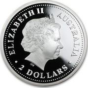 Australia 2 Dollars Year of the Pig lunar I series 2007 KM# 1885a ELIZABETH II AUSTRALIA 2 DOLLARS coin obverse