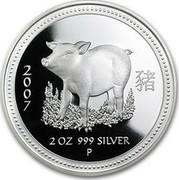 Australia 2 Dollars Year of the Pig lunar I series 2007 KM# 1885a 2007 2 OZ 999 SILVER P coin reverse