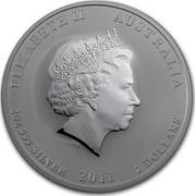 Australia 2 Dollars Year of the Rabbit (Colorized) 2011 ELIZABETH II AUSTRALIA 2 OZ 999 SILVER 2011 2 DOLLARS IRB coin obverse