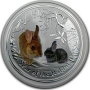 Australia 2 Dollars Year of the Rabbit (Colorized) 2011 YEAR OF THE RABBIT P coin reverse