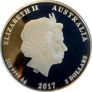 Australia 2 Dollars Year of the Rooster 2017 P Proof ELIZABETH II AUSTRALIA 2 OZ 9999 AG 2017 2 DOLLARS IRB coin obverse