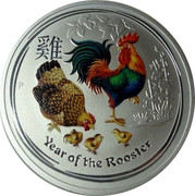 Australia 2 Dollars Year of the Rooster Colored 2017 YEAR OF THE ROOSTER P coin reverse