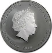 Australia 2 Dollars Year of the Tiger (Colorized) 2010 ELIZABETH II AUSTRALIA 2OZ 999 SILVER 2010 2 DOLLARS IRB coin obverse