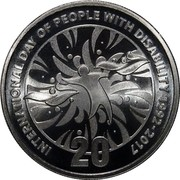 Australia 20 Cents International Day of People wiTh Disability 2017 INTERNARIONAL DAY OF PEOPLE WITH DISABILITY 1992-2017 20 coin reverse