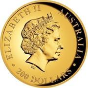 Australia 200 Dollars Australian Kangaroo 2016 ELIZABETH II AUSTRALIA 200 DOLLARS IRB coin obverse