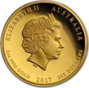 Australia 200 Dollars Dragon & Phoenix 2017 ELIZABETH II AUSTRALIA 2 OZ 9999 GOLD 2017 200 DOLLARS IRB coin obverse