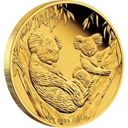 Australia 200 Dollars Koala and Juvenile 2011 2 OZ 9999 GOLD P coin reverse