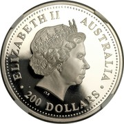 Australia 200 Dollars Koala on a tree 2000 ELIZABETH II AUSTRALIA IRB ∙ 200 DOLLARS ∙ coin obverse