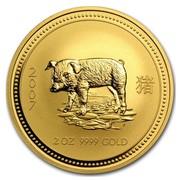 Australia 200 Dollars Piglet 2007 2007 2 OZ 9999 GOLD coin reverse