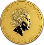 Australia 200 Dollars Year of the Dog 2018 ELIZABETH II AUSTRALIA 2OZ 9999 GOLD 2018 200 DOLLARS IRB coin obverse