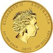 Australia 200 Dollars Year of the Goat 2015 ELIZABETH II AUSTRALIA 2 OZ 9999 GOLD 2015 200 DOLLARS IRB coin obverse