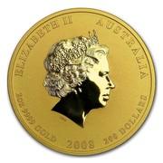 Australia 200 Dollars Year of the Mouse 2008 ELIZABETH II AUSTRALIA 2 OZ 9999 GOLD 2008 200 DOLLARS IRB coin obverse