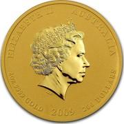 Australia 200 Dollars Year of the Ox 2009 ELIZABETH II AUSTRALIA 2 OZ 9999 GOLD 2009 200 DOLLARS IRB coin obverse