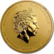 Australia 200 Dollars Year of the Rooster 2017 ELIZABETH II AUSTRALIA 2 OZ 9999 GOLD 2017 200 DOLLARS IRB coin obverse