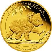 Australia 25 Dollars Australian Koala 2016 AUSTRALIAN KOALA P 2016 1/4 OZ 9999 GOLD coin reverse