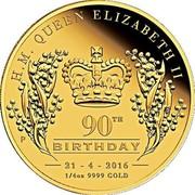 Australia 25 Dollars Her Majesty Queen Elizabeth II 90th Birthday 2016 H. M. QUEEN ELIZABETH II 90TH P BIRTHDAY 21 - 4 - 2016 1/4 OZ 9999 GOLD coin reverse