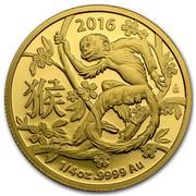 Australia 25 Dollars Monkey 2016 2016 1/4 OZ .9999 AU coin reverse