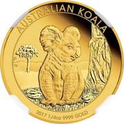 Australia 25 Dollars Resting Koala 2017 AUSTRALIAN KOALA 2017 1/4 OZ 9999 GOLD P TV coin reverse