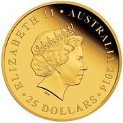 Australia 25 Dollars The Land Down Under - Great Barrier Reef 2014 KM# 2180 ELIZABETH II AUSTRALIA 2014 25 DOLLARS IRB coin obverse